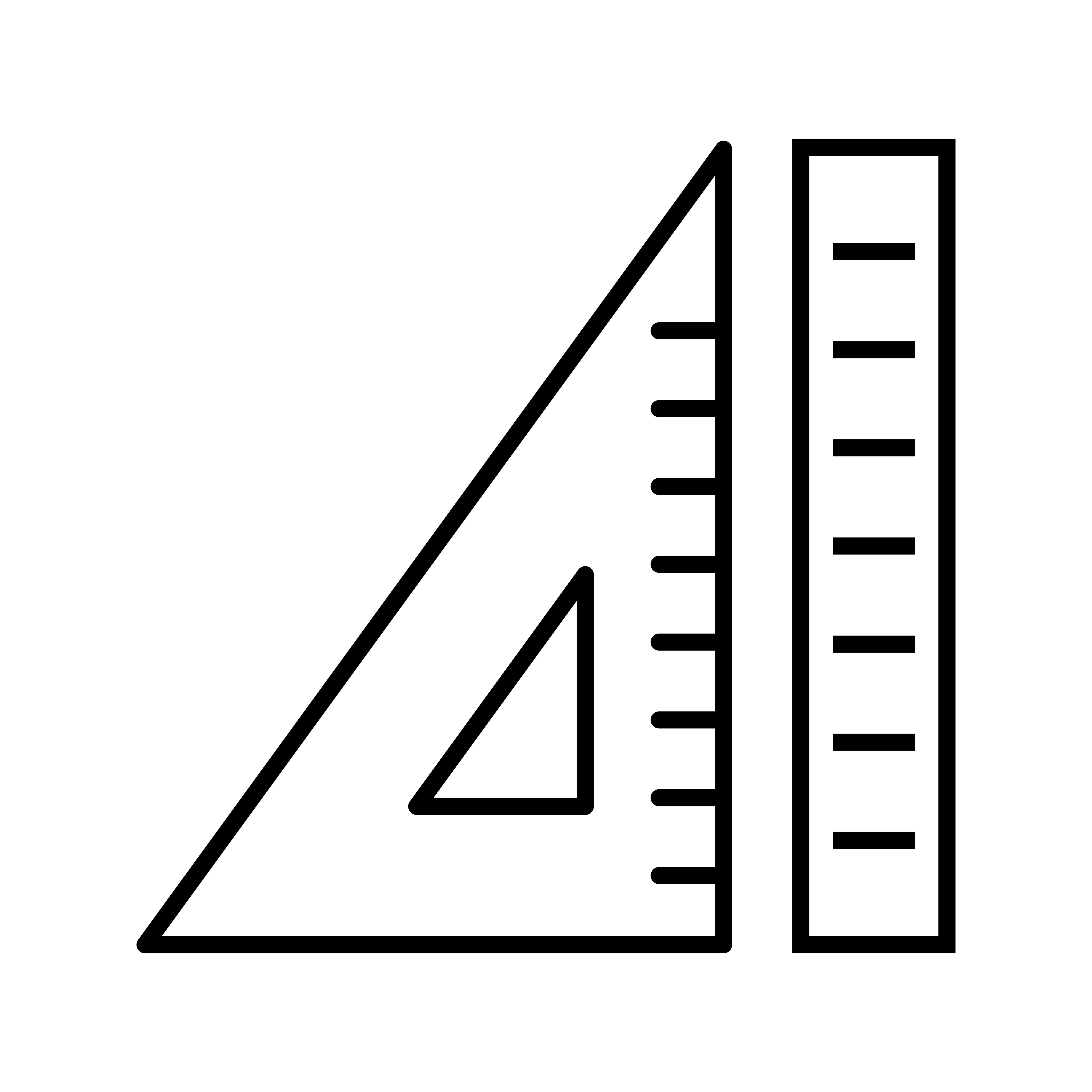 Ruler And Set Square Beautiful Line Black Icon