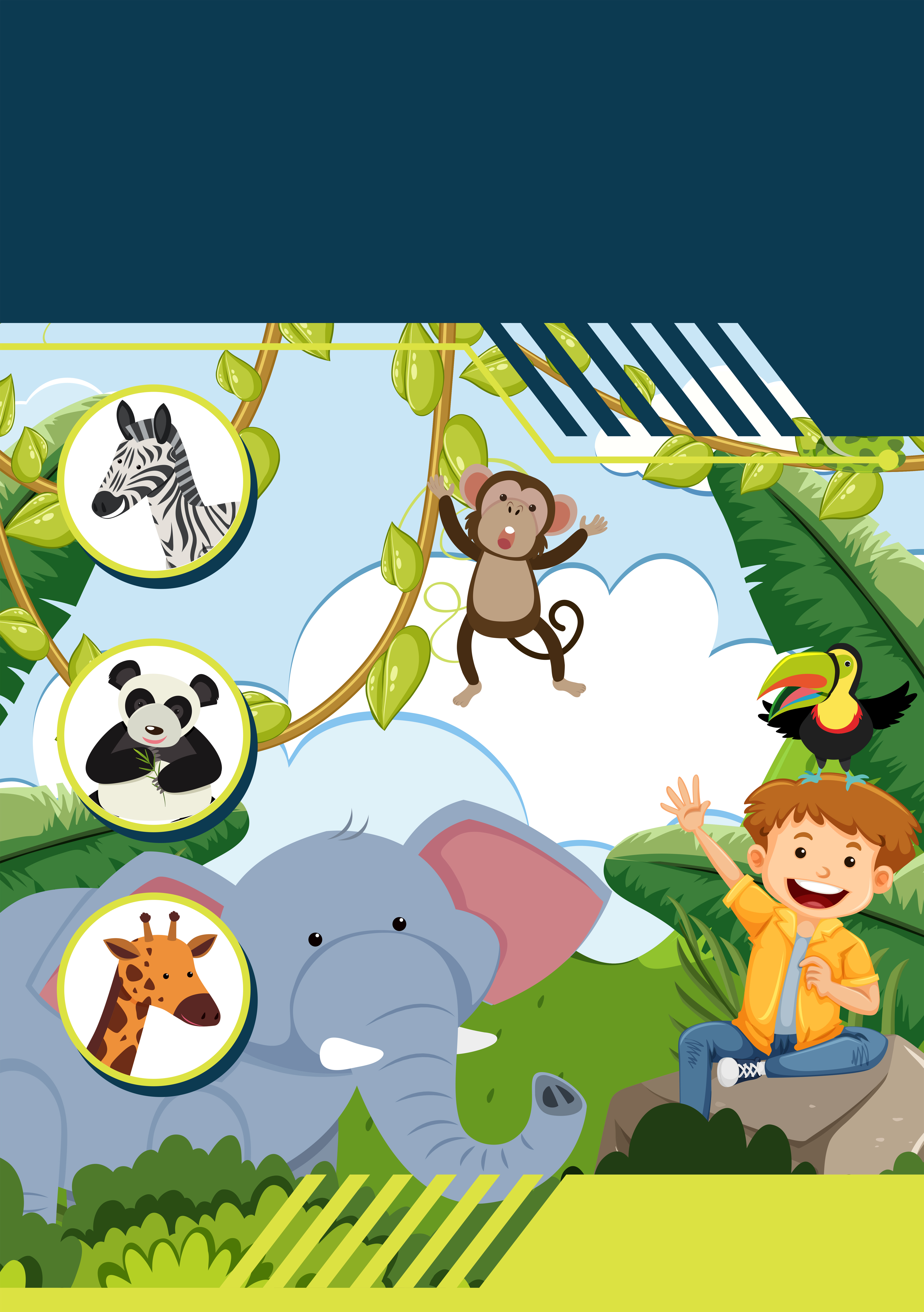 A Template With Boy And Wild Animals