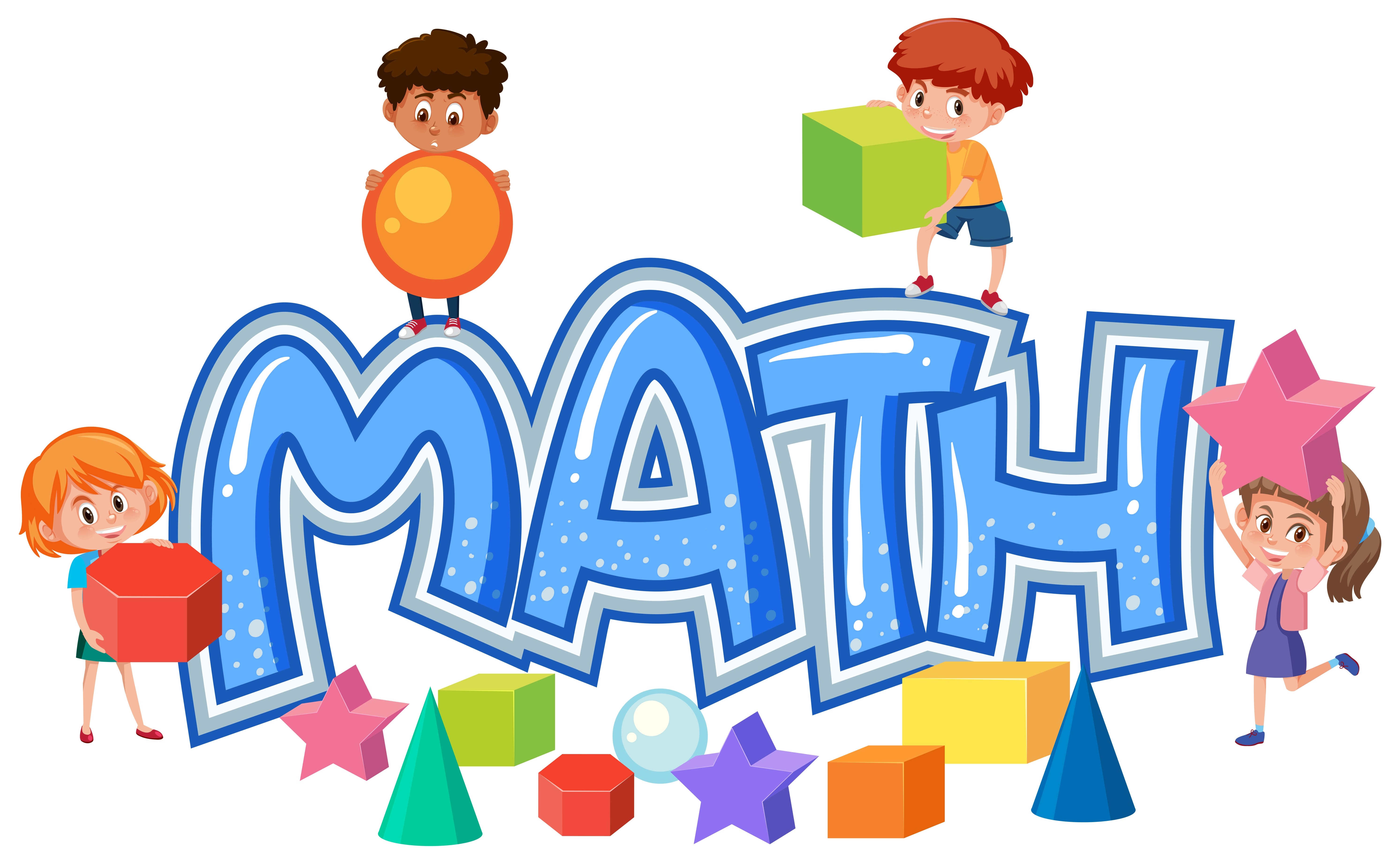 Group Of Children On Math Icon