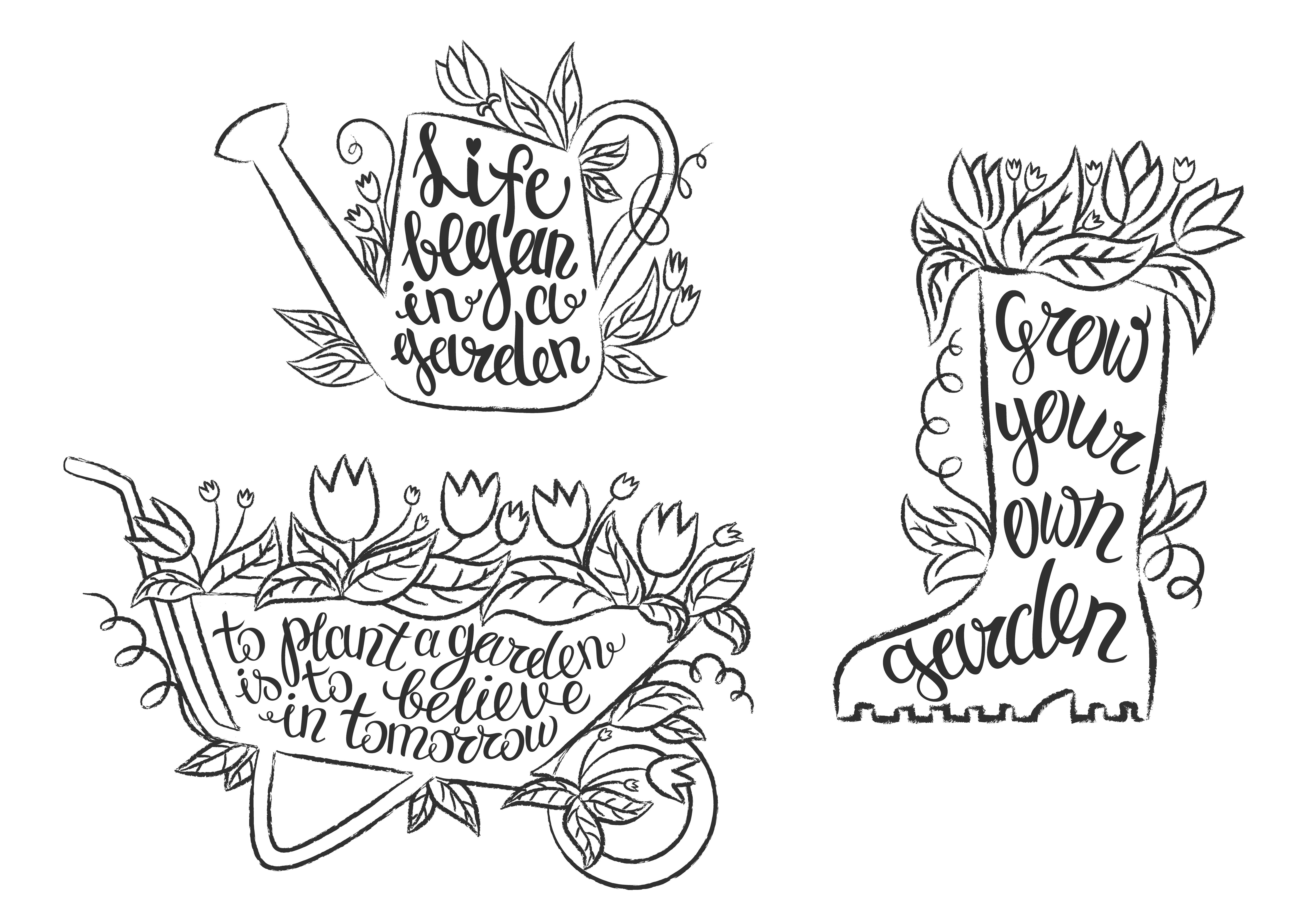 Collection Of Grunge Contour Gardening Placards With