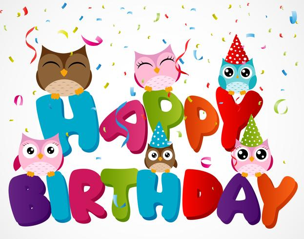 Happy Birthday Card With Owl 618339 Vector Art At Vecteezy