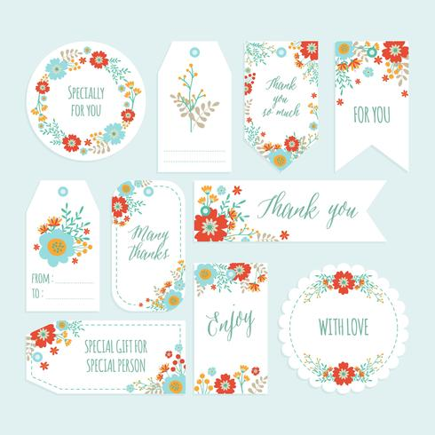 Set Of Romantic Flower Thank You Tag Set With Hand Drawn