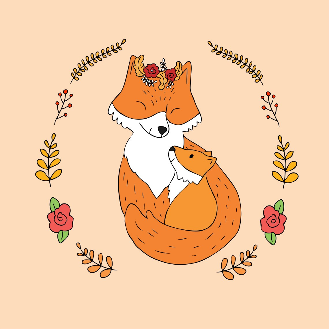 Download mother and baby red fox - Download Free Vectors, Clipart ...