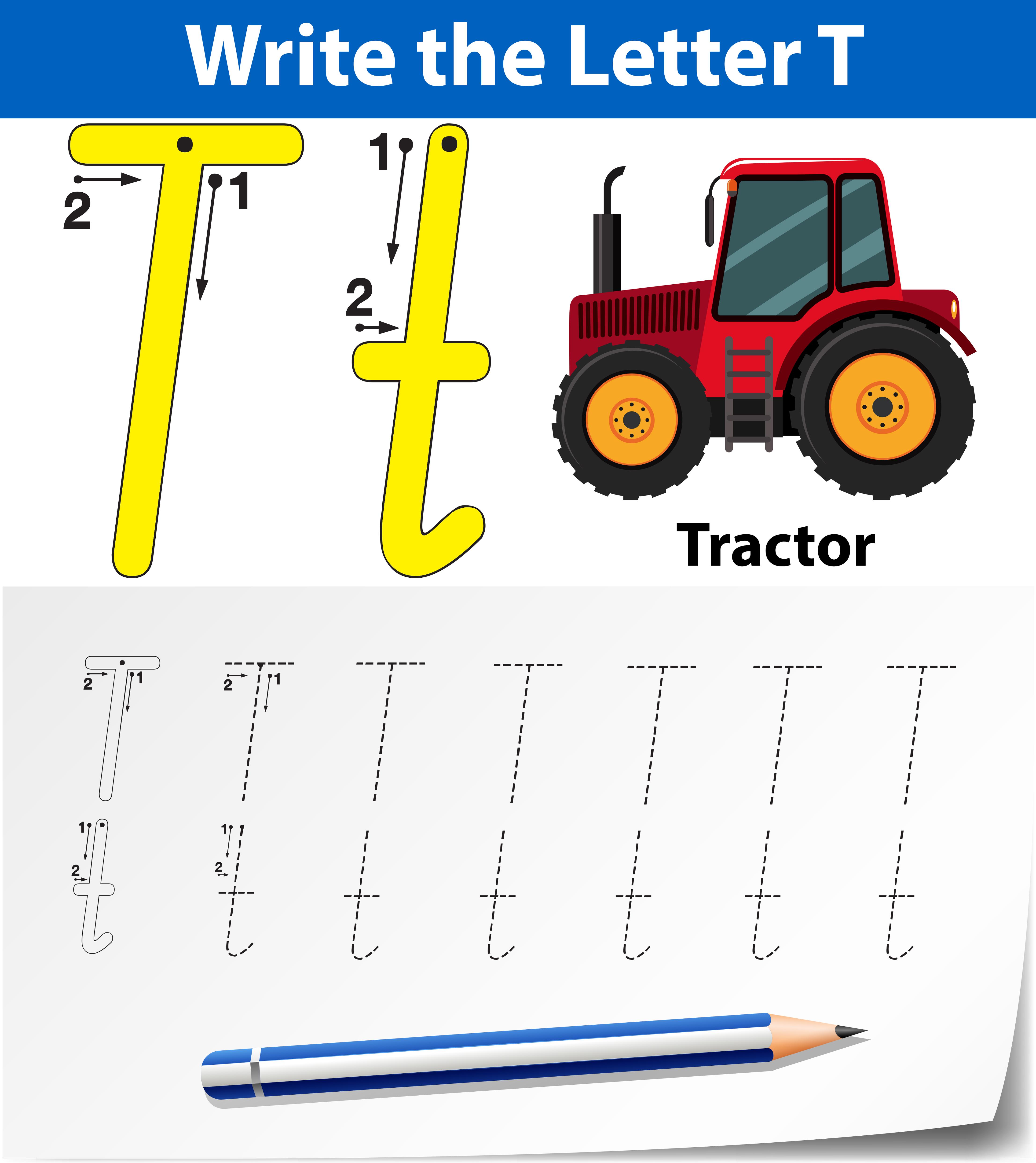 Letter T Tracing Alphabet Worksheets