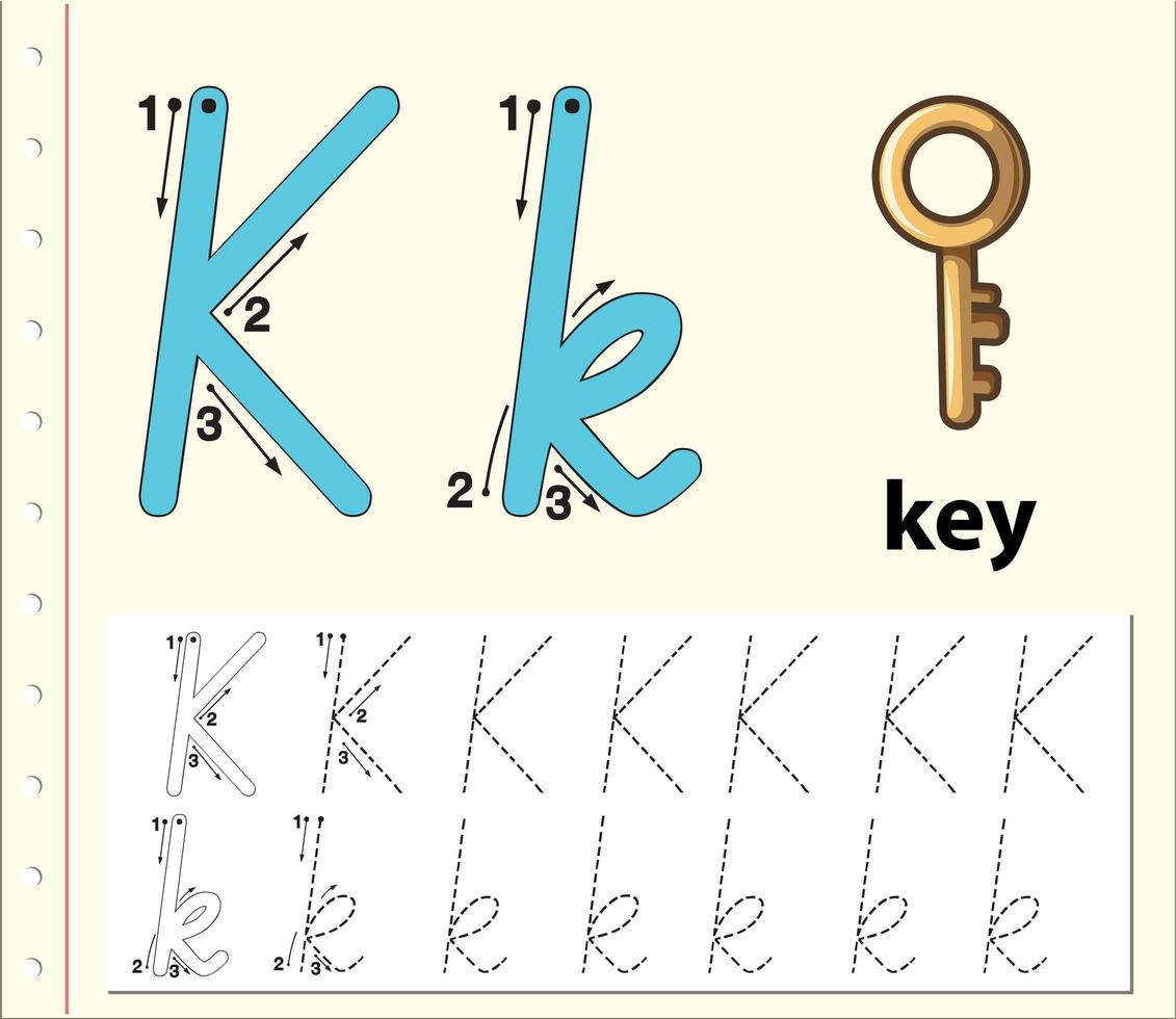 Letter K Tracing Alphabet Worksheets