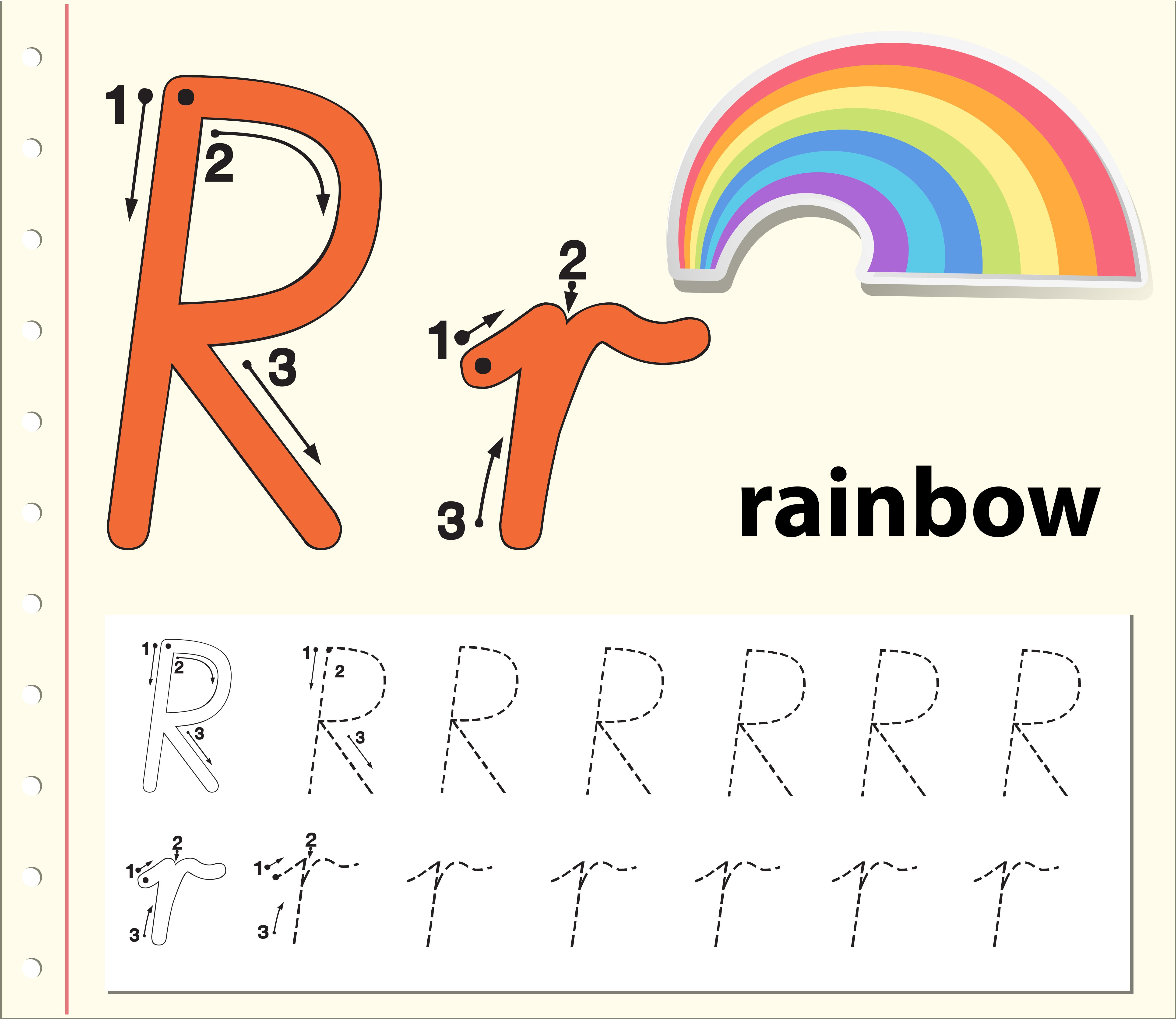 Letter R Tracing Alphabet Worksheets