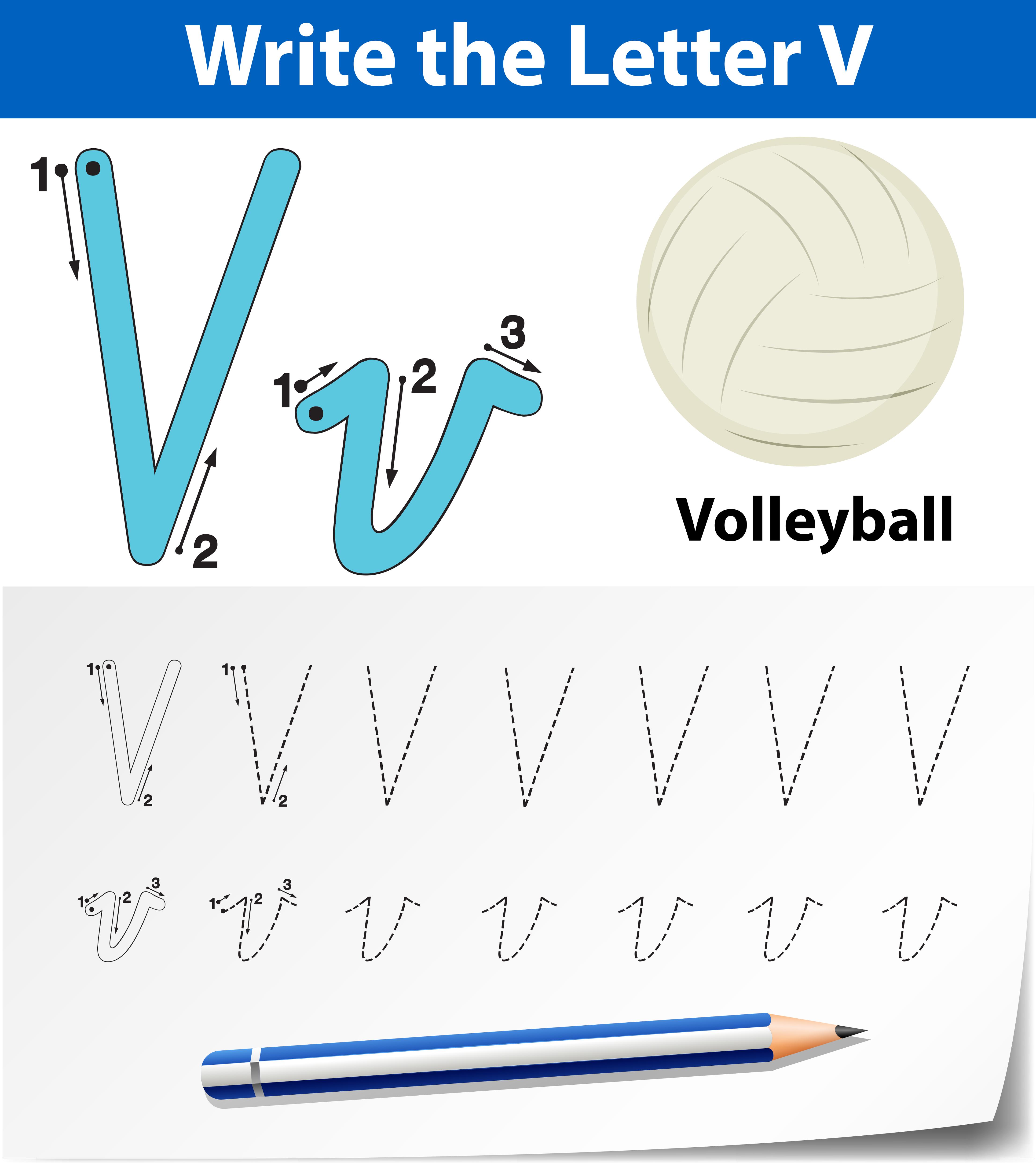 Letter V Tracing Alphabet Worksheets