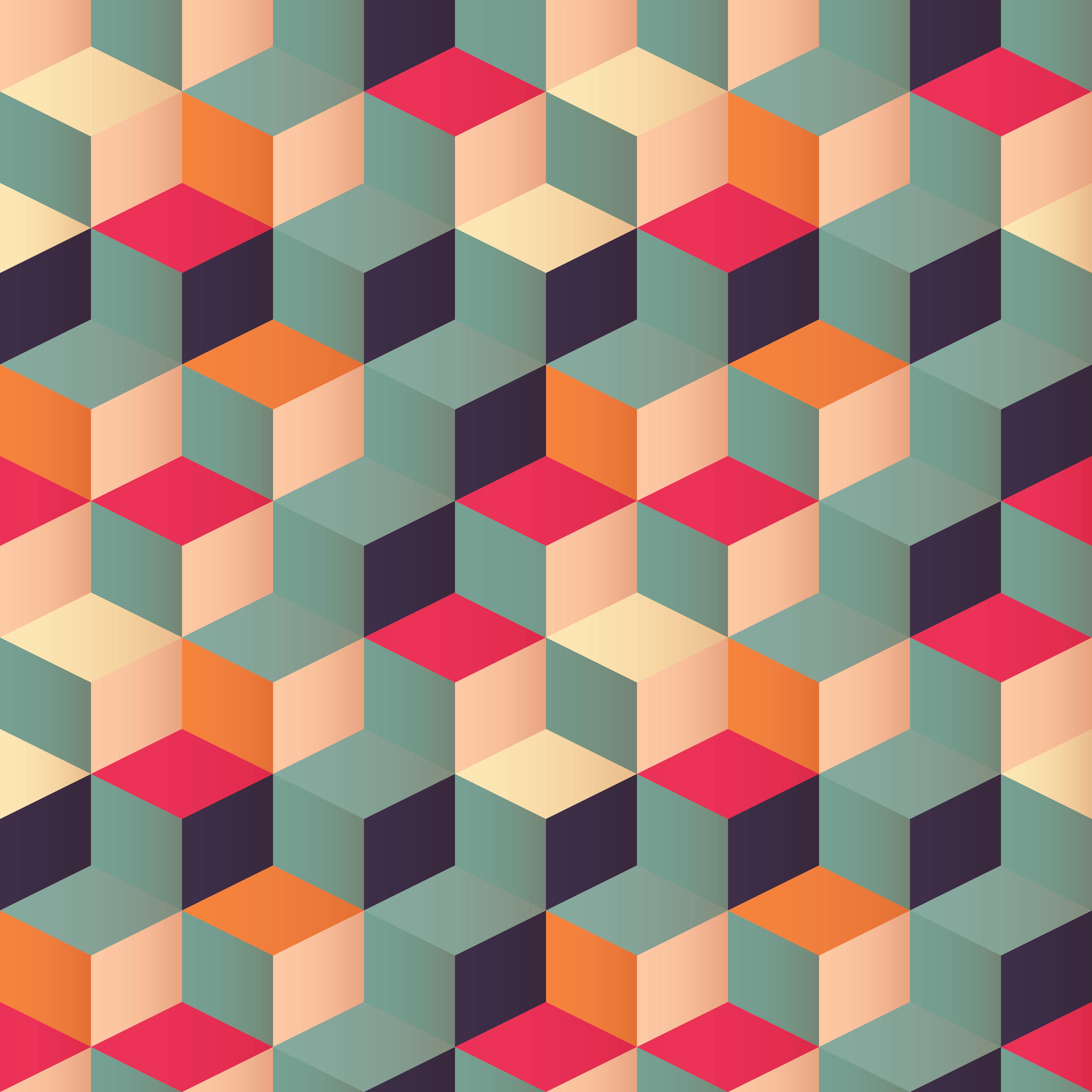 Geometric Seamless Pattern With Colorful Squares