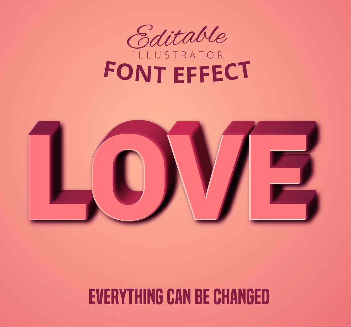 Download Love pink 3D text, editable text style - Download Free ...