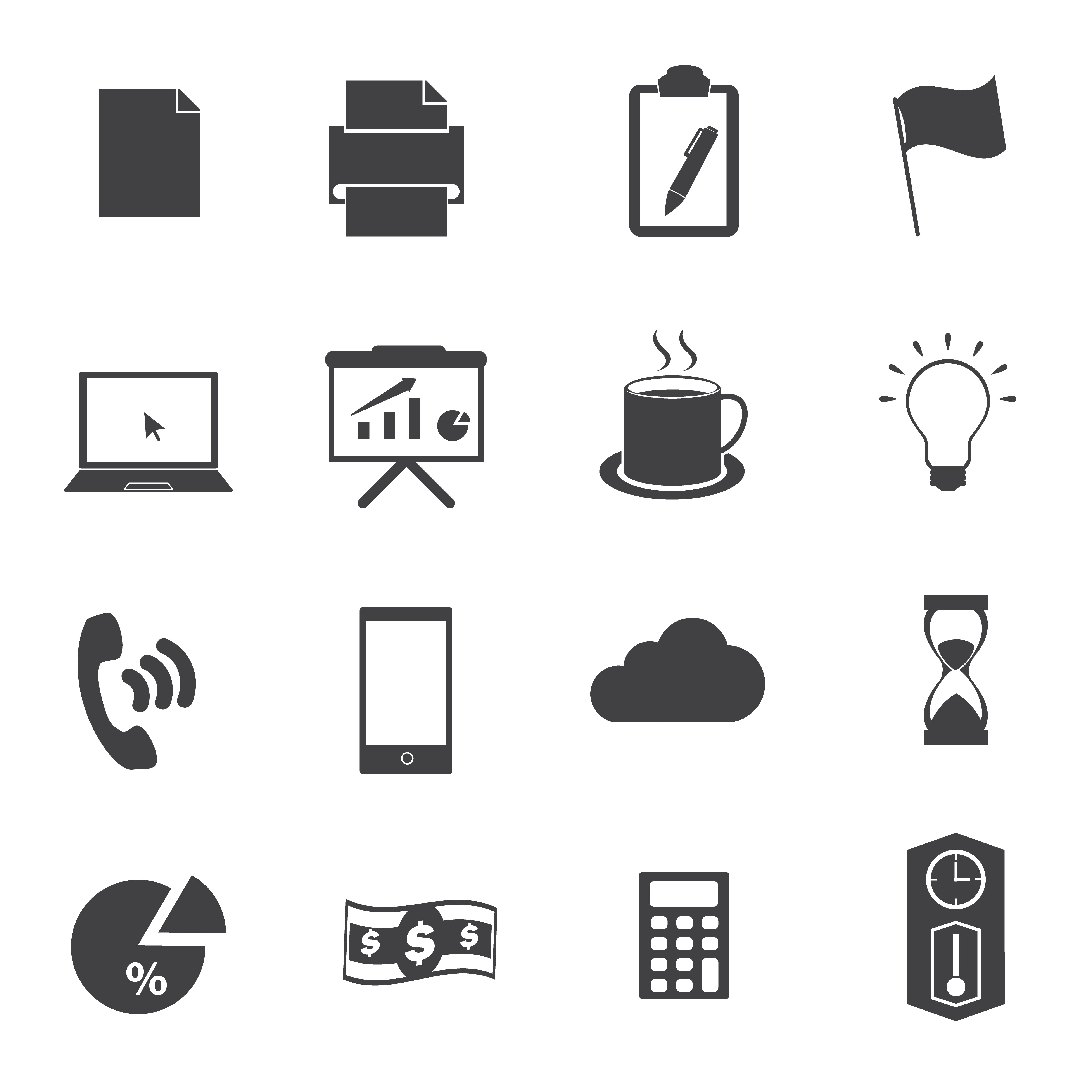 Business Office Black Icon Set