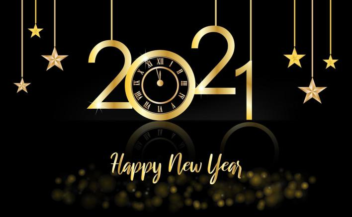 Happy New Year, 2021 gold and black background with a clock and stars -  Download Free Vectors, Clipart Graphics & Vector Art