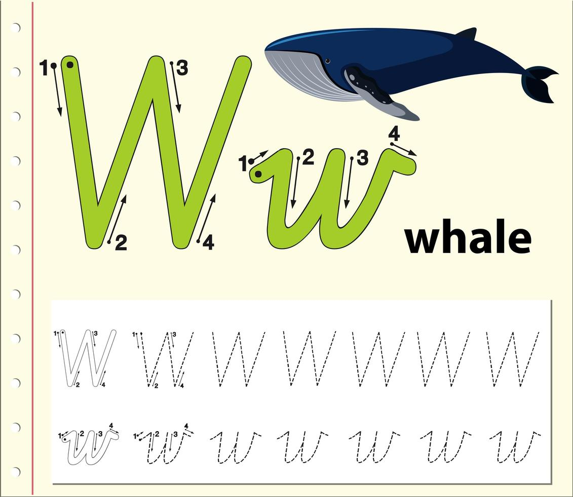 Letter W Tracing Alphabet Worksheet With Whale