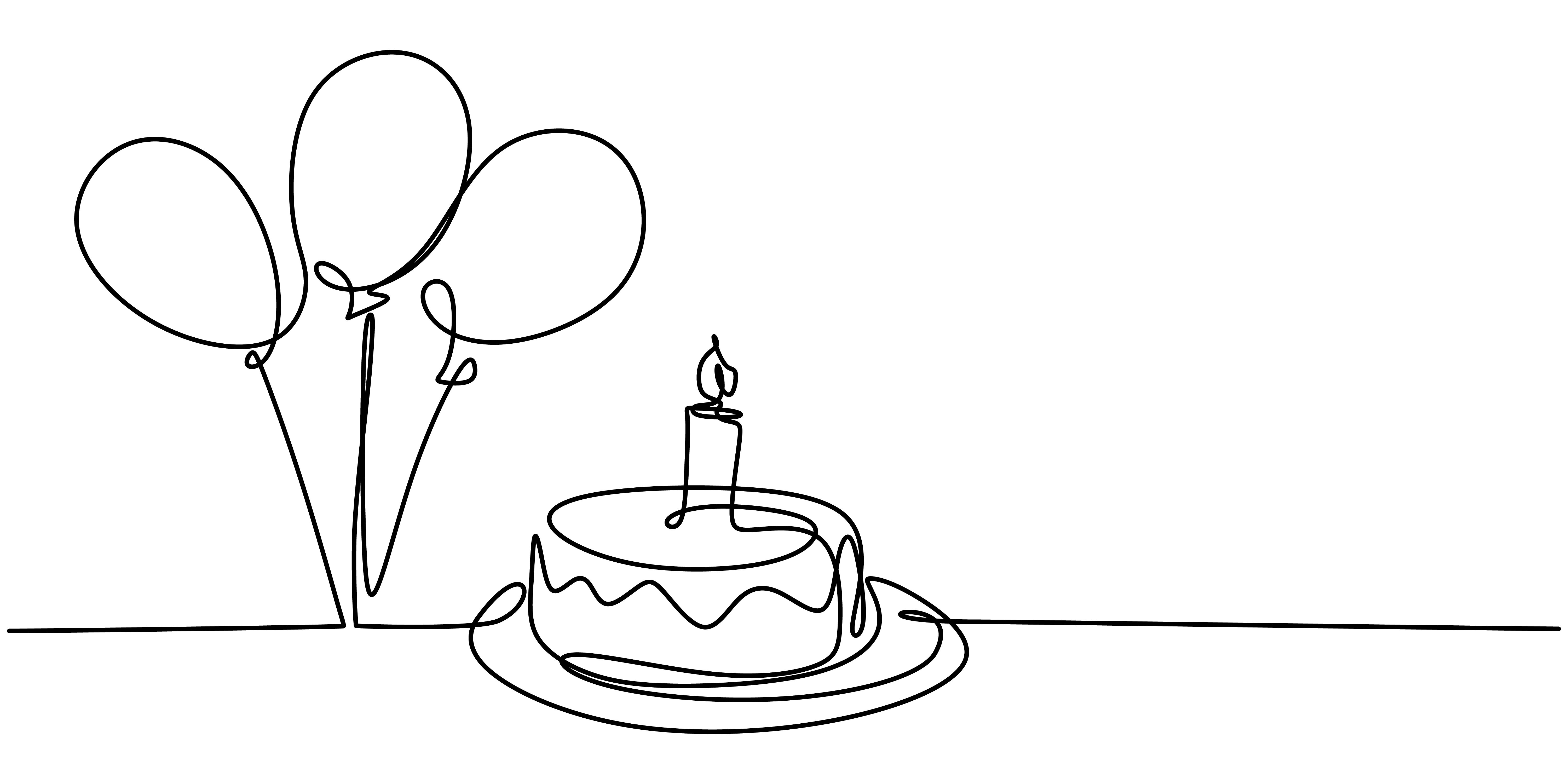 Continuous Line Drawing Of Birthday Cake A Cake With Sweet Cream And Candle 1903585 Vector Art At Vecteezy