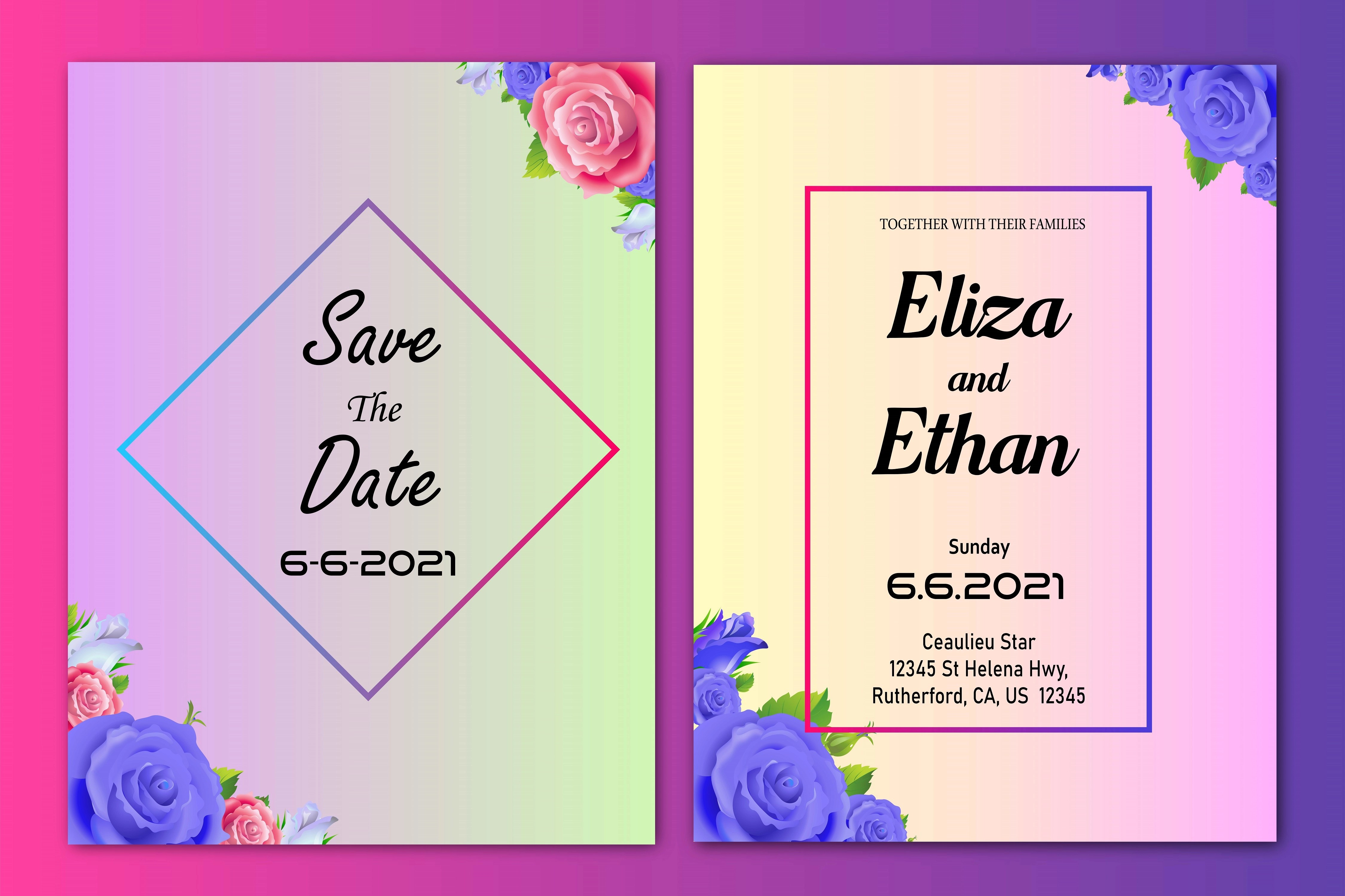 wedding invitation card with colorful