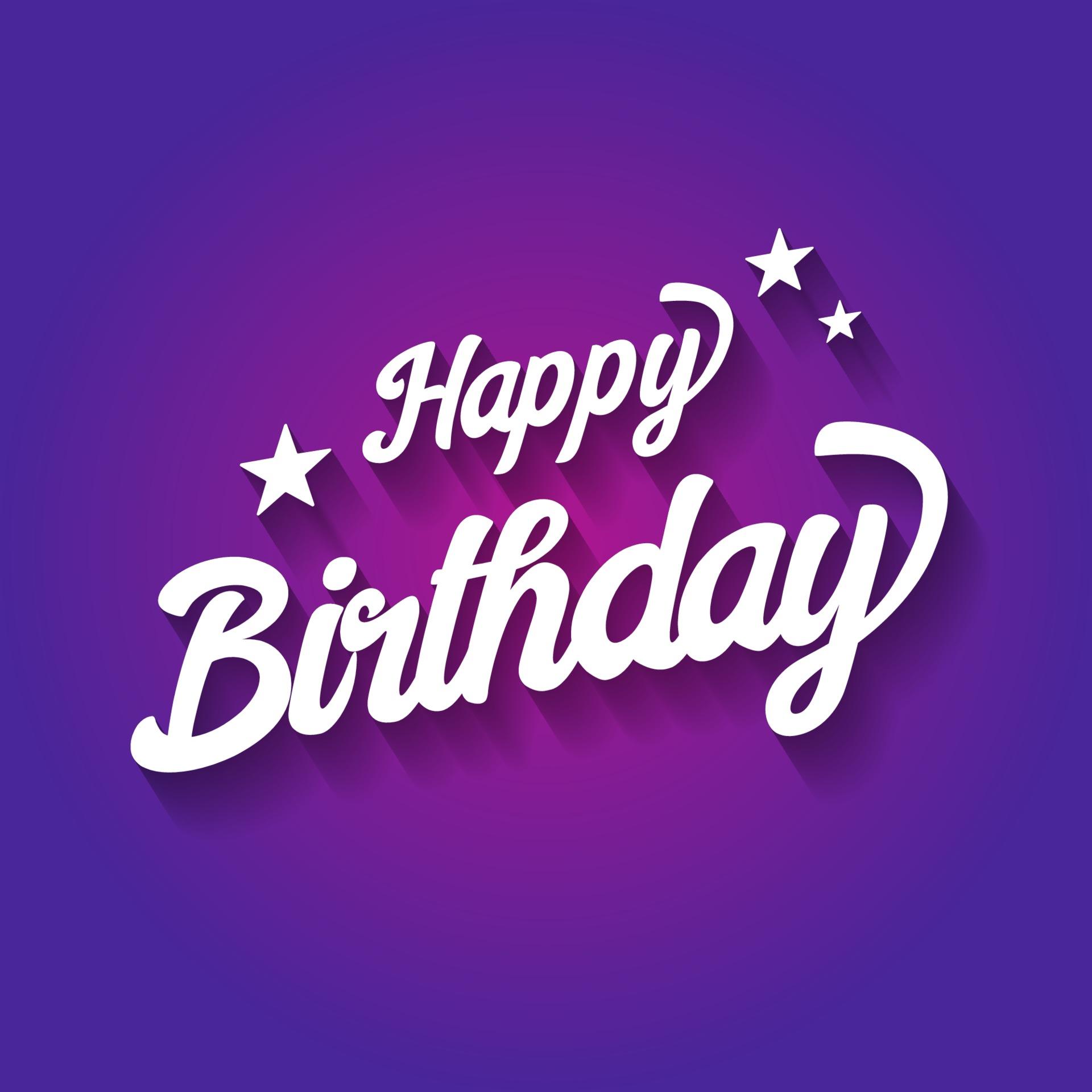 happy birthday typographic on violet