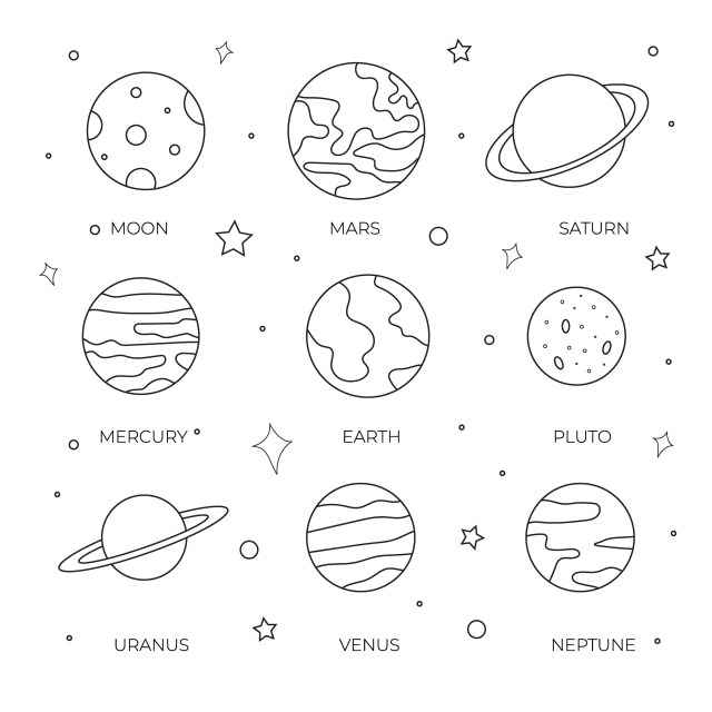 Set of hand drawn planets and moon for coloring page or children
