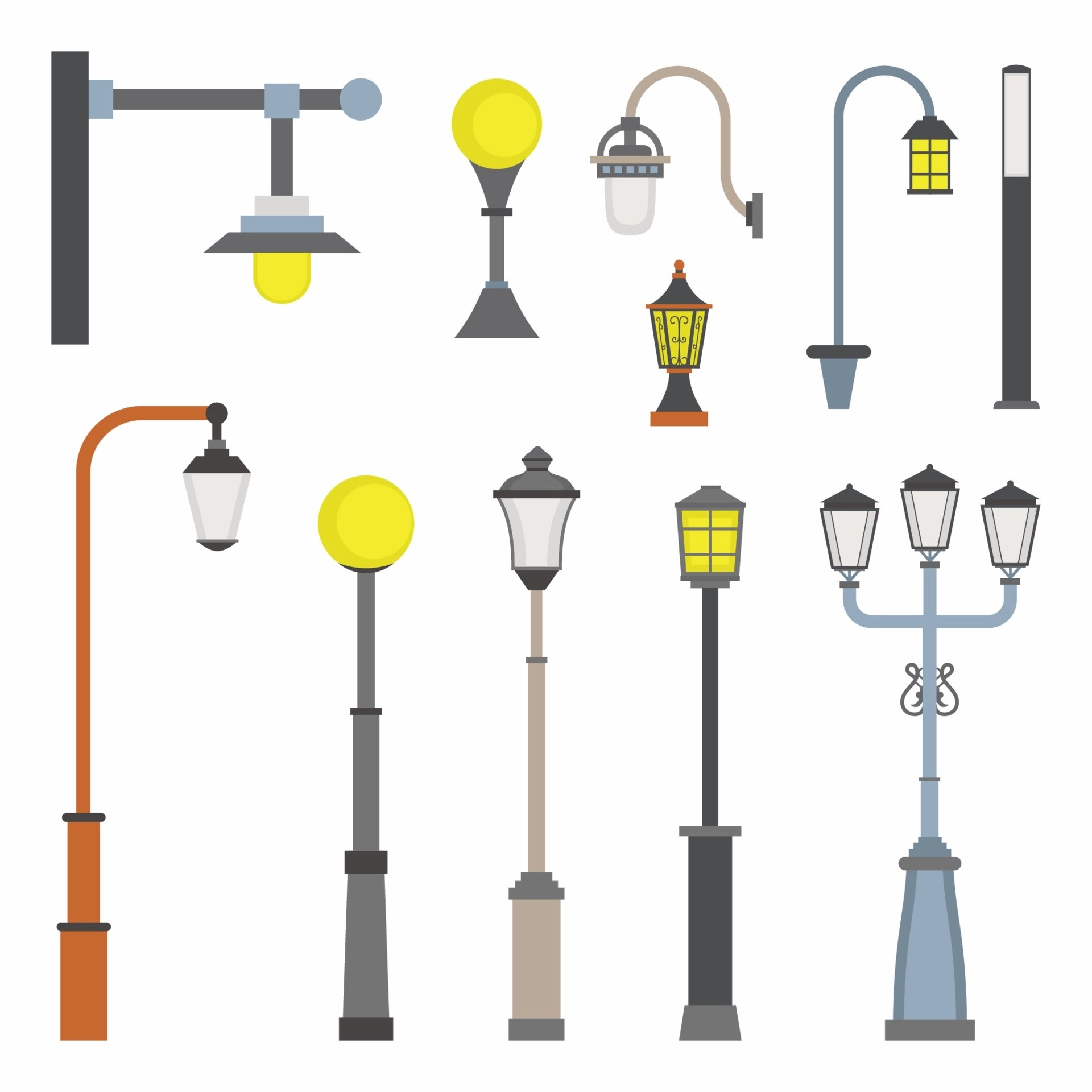 street light object cartoon icons set