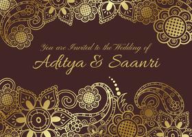 Vector Golden Indian Wedding Card