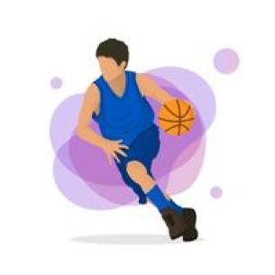 Ilustrasi Vektor Pemain Basket Datar