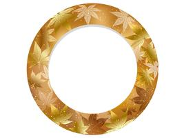 Gold, circular autumn frame. vector