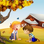 Kids Playing With The Butterflies Near A Big Tree Download Free Vectors Clipart Graphics Vector Art