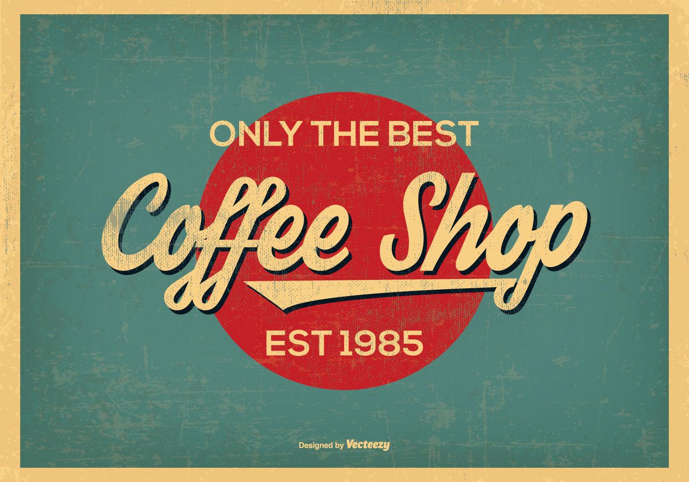 weinlese retro art kaffee geschaft