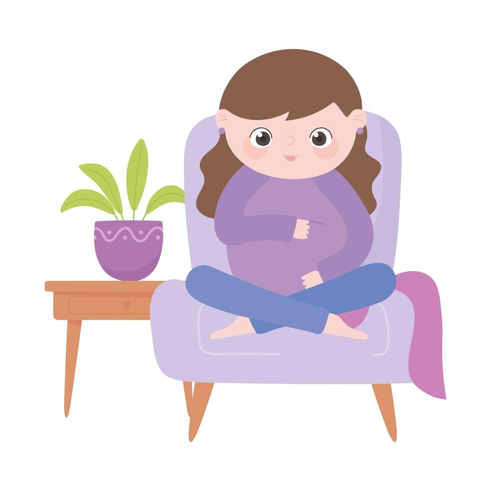 https fr vecteezy com art vectoriel 1859923 grossesse et maternite mignonne femme enceinte assise sur chaise dessin anime