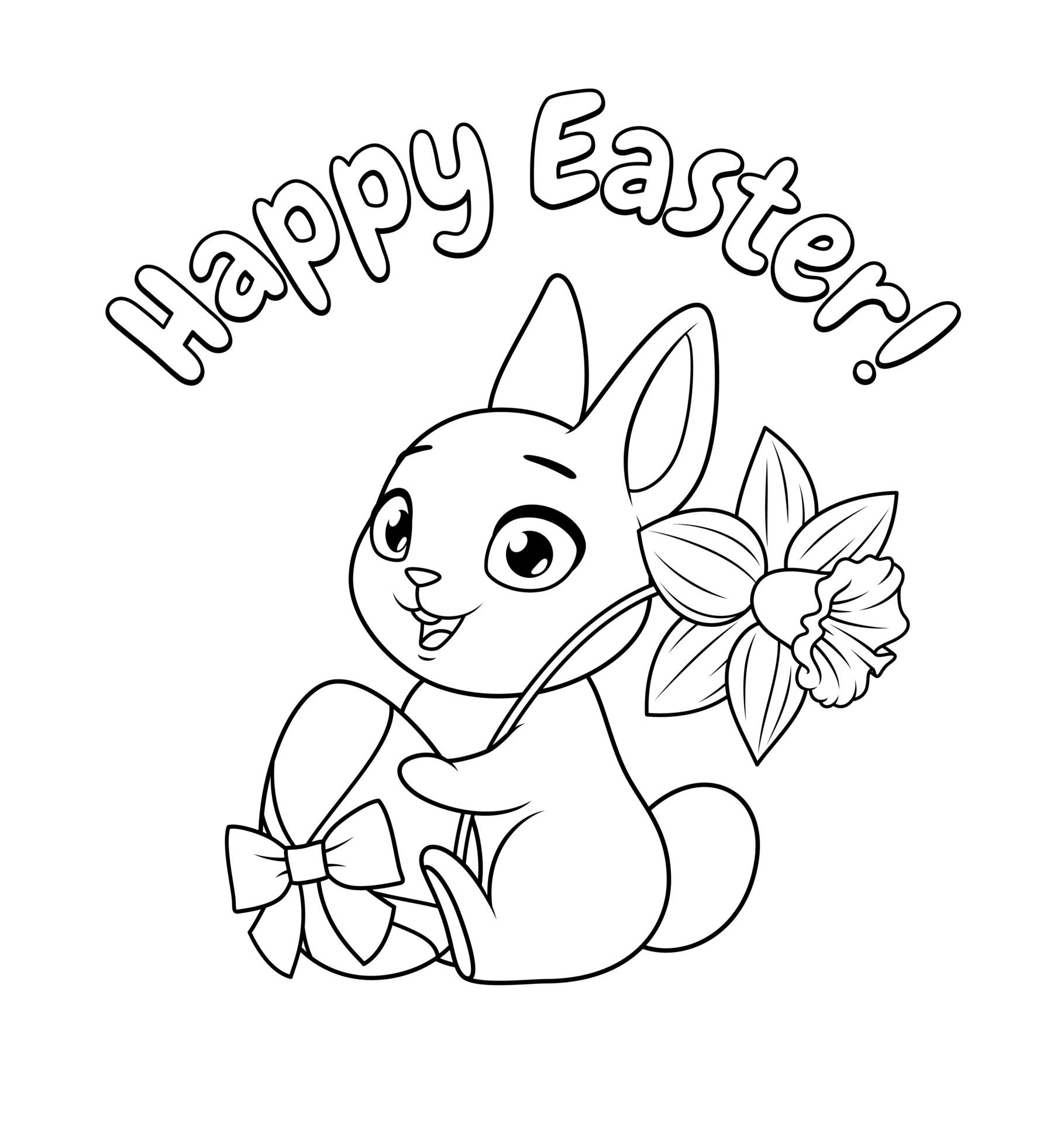 mignon petit lapin tenant oeuf et fleur