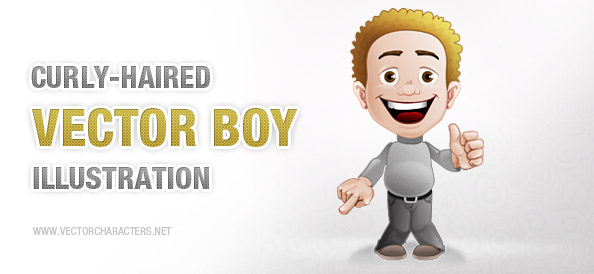 Curly-Haired Boy Vector Character
