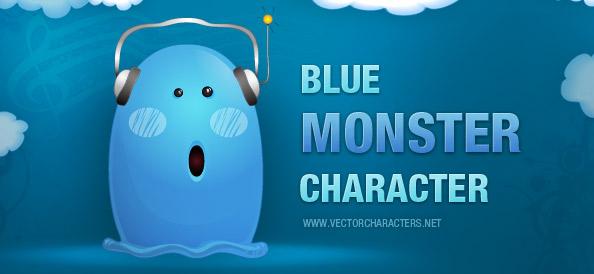 Blue Monster Vector Character