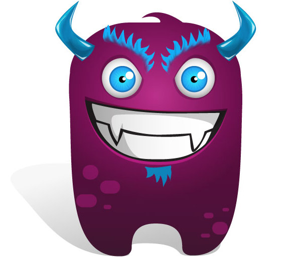 Evil Monster Vector Cartoon - Vector Characters
