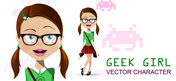 Geek School Girl Vector Character