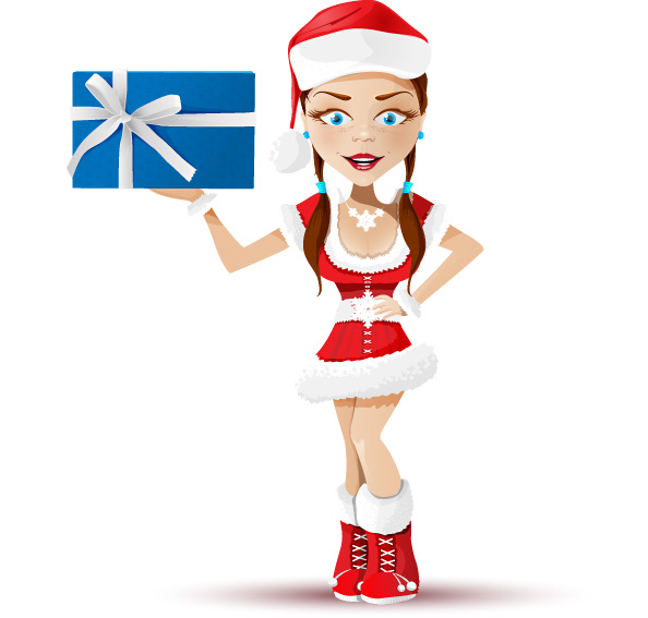 Santa Girl Vector Character Preview