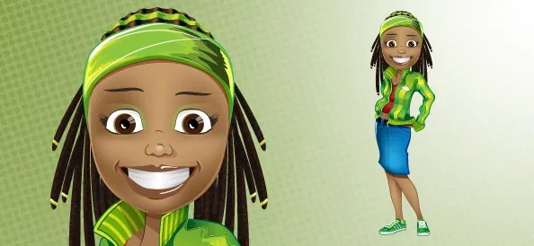 Afro-American Girl Vector Character