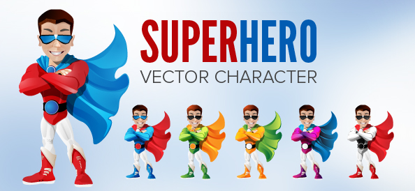 Colorful Superhero Vector Character
