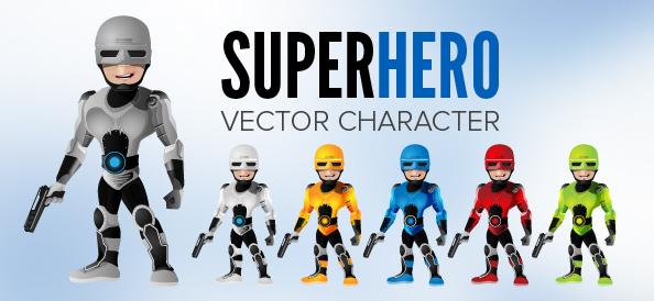 Robot Superhero Vector Character