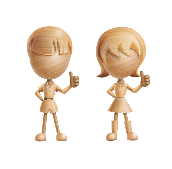 3D Vector Characters made of wood Preview