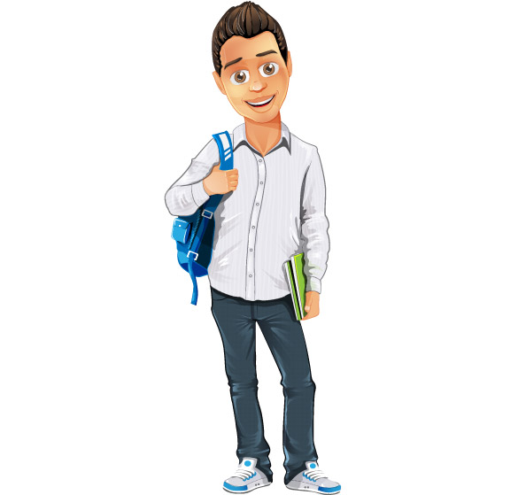 Boy Vector Character with Bag and Notepad Preview