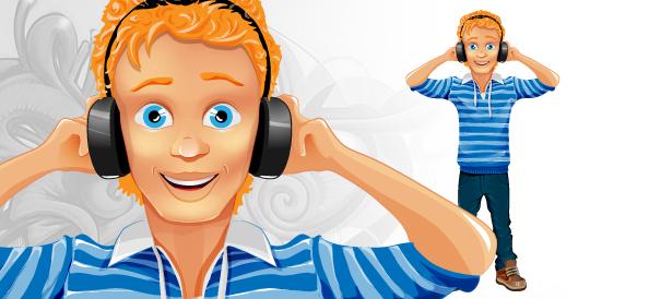 Boy Vector Character with Headphones