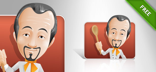 Chef Vector Character On Red Background