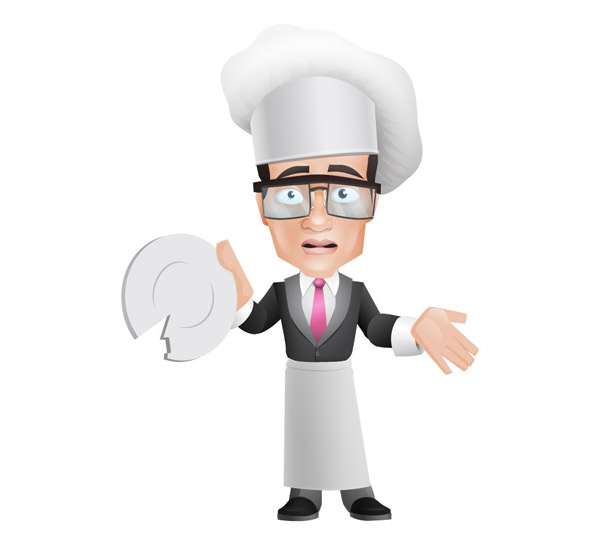 Cook Vector Character Holding a Broken Plate Preview
