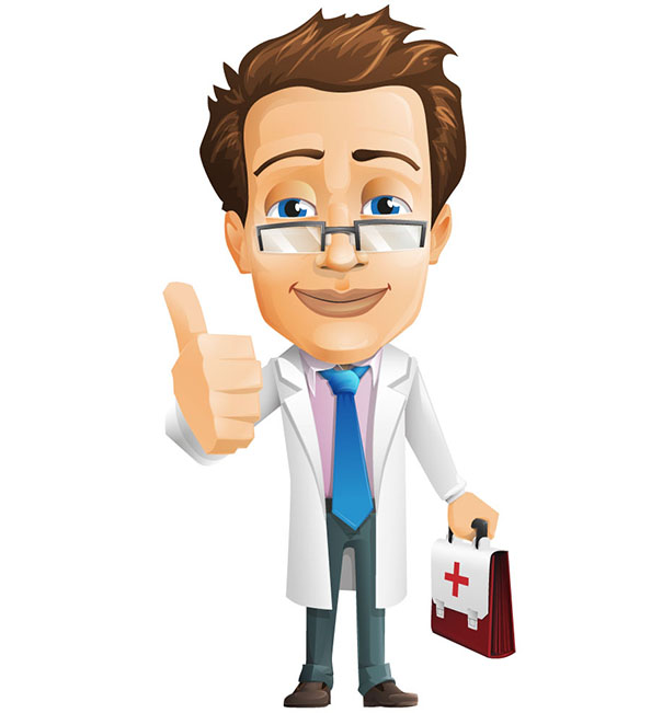 Male Doctor Vector Character with Case