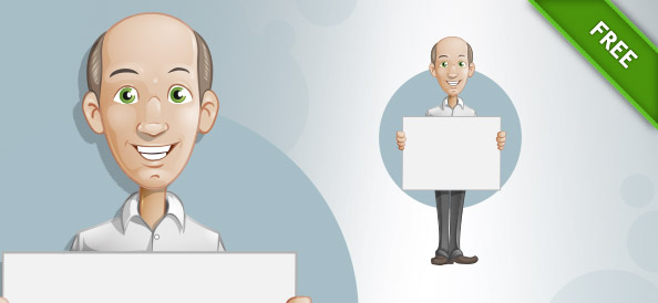 Presenting Bald Man Vector Character