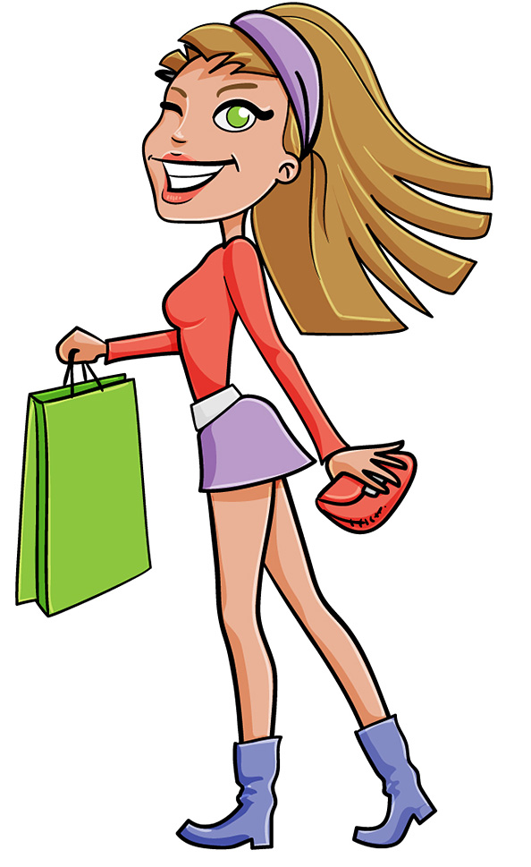 Free Shopping Girl Vector Character