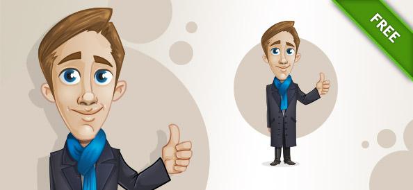 Gentleman Vector Character with Thumbs Up