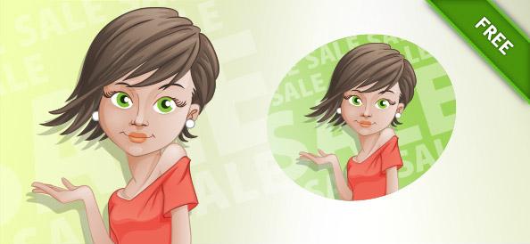 Shopping Girl Vector Character