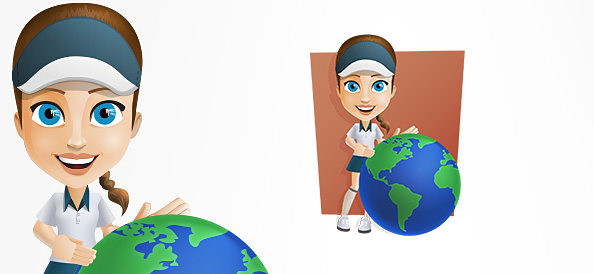 Female Courier Vector Character Holding a Globe