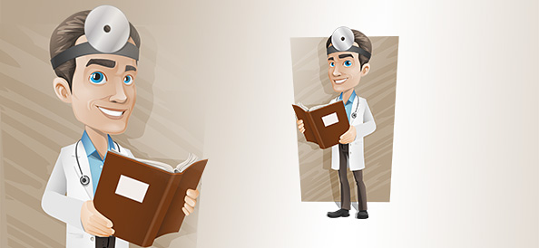 Male Doctor Vector Character With a Book