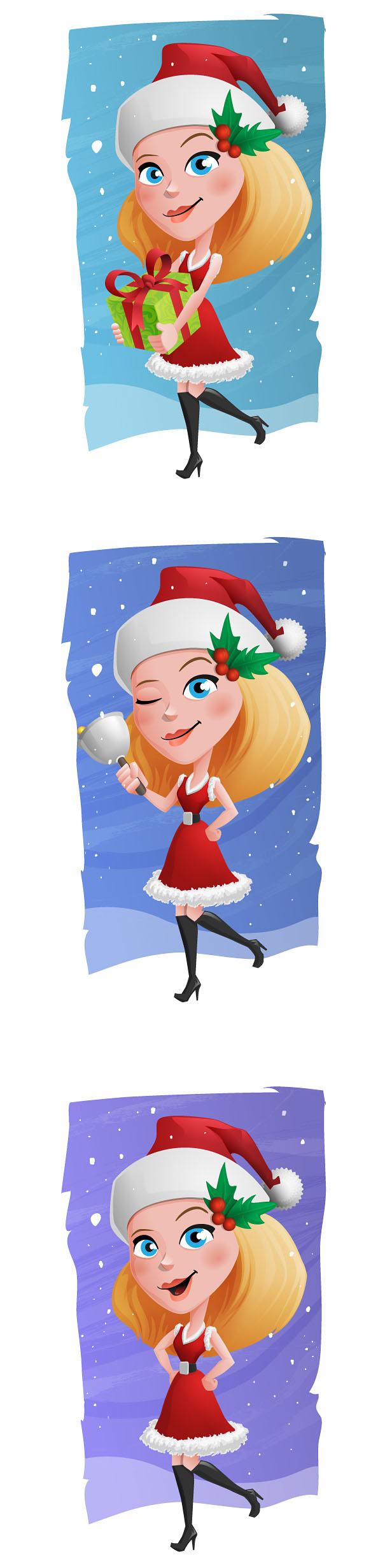 Christmas Girl Vector Character Set Preview