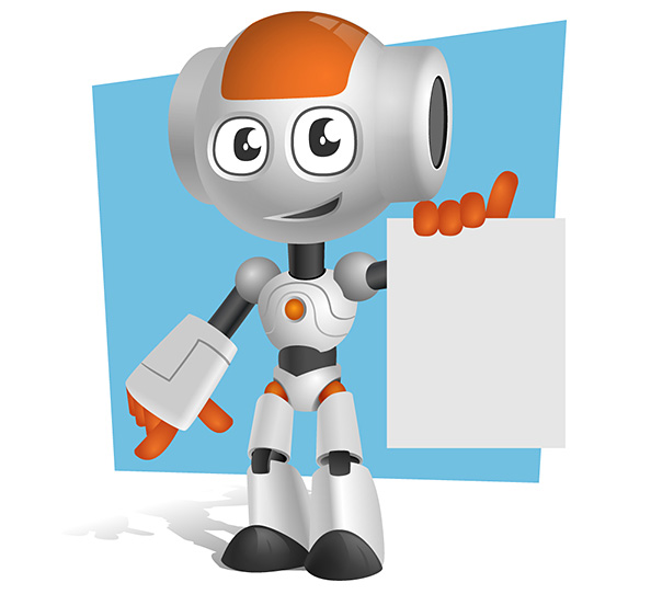 Robot Vector Character Holding a Note Preview